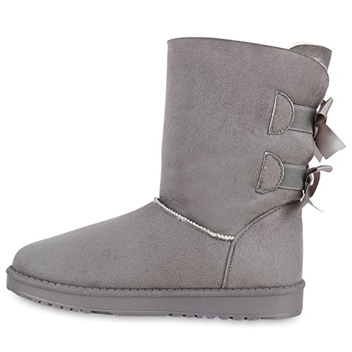 Warm Gefütterte Damen Stiefeletten Glitzer Stiefel Schlupfstiefel Boots Grau Weiss Schleife