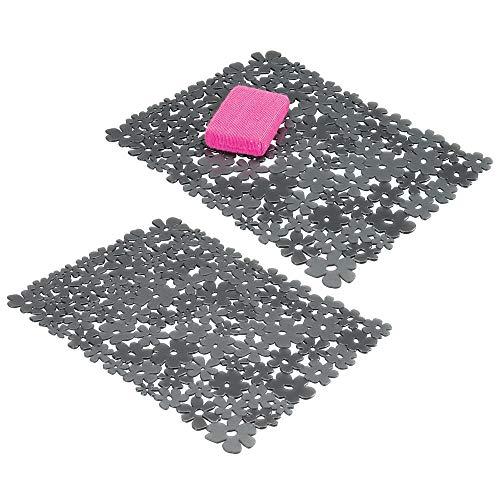 mDesign Set da 2 Tappetini per Il lavandino della Cucina - Tappetino Protettivo in PVC - Tappetino lavello per stoviglie e Posate ritagliabile con Motivo a Fiori - Grigio Ardesia