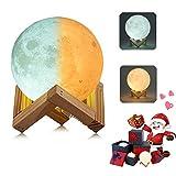 3D Mond Lampe Nachtlampe, Farbwechsel durch Berührung, USB Wiederaufladbar, Mondlicht, Nacht Licht, mit Hölzernem Standfuß, für Freunde,Weihnachten, Geburtstag, Kinder, Schlafzimmer (10cm/3.9 in)