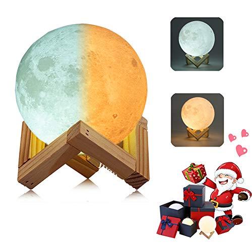 3D Mond Lampe Nachtlampe, Farbwechsel durch Berührung, USB Wiederaufladbar, Mondlicht, Nacht Licht, mit Hölzernem Standfuß, für Freunde,Weihnachten, Geburtstag, Kinder, Schlafzimmer (10cm/3.9 in) - Geschenkboxen Weihnachten Beleuchtete