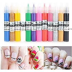 ULTNICE 12 Color 3d Paint Nail Art DIY Polish Pen Uv Gel Acrylic Tips Set Salon Beauty