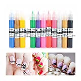 ULTNICE 12 Color 3d Paint Nail Art DIY Polish Pen Uv Gel Acrylic Tips Set Salon Beauty