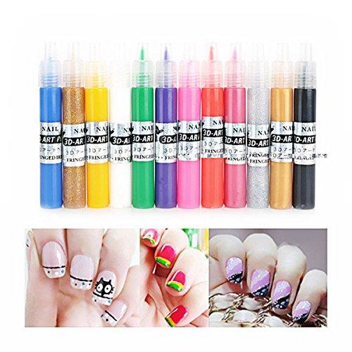 ULTNICE 12 Color 3d Paint Nail Art DIY Polish Pen Uv Gel Acrylic Tips Set Salon Beauty (Nail Pen)