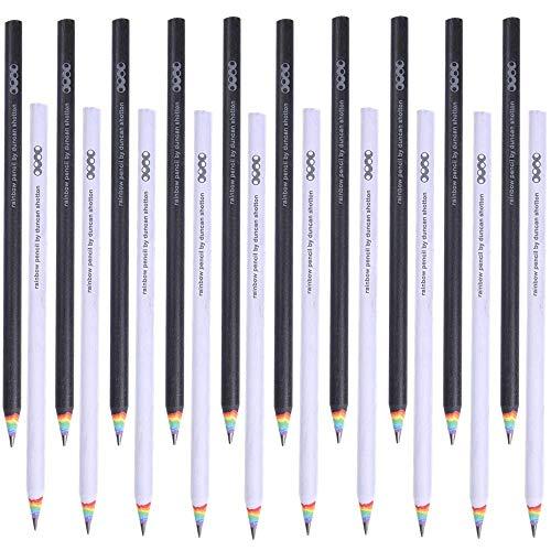 Shulaner 2b Regenbogen Bleistifte Schule Schreiben Zeichnung Bleistifte, Schwarz und Weiß - Packung mit 20