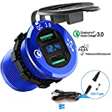 Opluz Dual QC3.0 USB Car Charger, Quickly Charge 4.8A USB Car Socket x2&Waterproof Power Outlet with LED Voltmeter for 12V/24V Car, Boat, Marine, RV, Motorcycle Mobile Build-in 10A Fuse DIY Car Kit