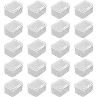 Petite Boite Plastique, 20 Pièces Carrées en Plastique Transparente, Petite Boîte de Rangement, Boîte de Conteneurs de…