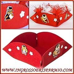 Idea Regalo - Ingrosso e Risparmio Cesto portaconfetti in tessuto rosso decorato con gufetti portafortuna in toga in varie pose - Bomboniera laurea (kit 6 pz.)