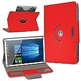 Robuste Schutzhülle für Ihr Archos Access 101 3G Tablet aus Kunstleder mit Standfunktion 360° Drehbar Hülle Schutztasche Ständer Tasche Cover Case Etui, Farbe:Rot