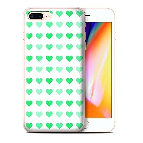 Stuff4 Hülle / Case für Apple iPhone 8 Plus / Rot Muster / Herz Liebe Schablone Kollektion Grün