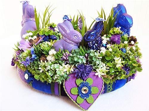 Osterkranz Frühlingskranz AUF INS BLAUE Hasen Osterdeko Wohndeko Deko Ostern Luxus Blau Lila Landhaus Retro