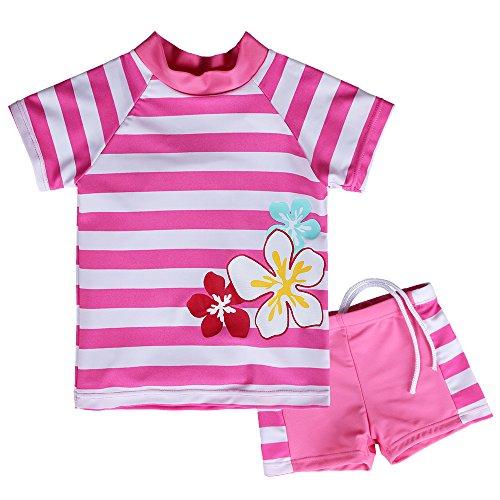 HUANQIUE Badeanzug Mädchen Bademode Badebekleidung Set mit UV-Schutz Anzüge Streifen Blüte HotPink 116/122 -
