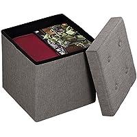 Preisvergleich für Harima - Camelot Faltbarer Polsterhocker, Leinenoptik, Hellgrau, 38 x 38 x 38 cm, Aufbewahrungsbox, für Kinderspielzeug, 300 kg maximale Tragkraft