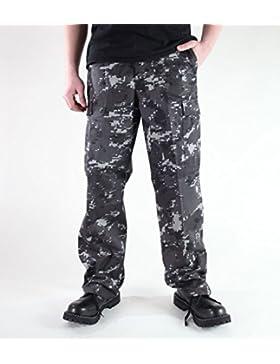 Mil-Tec BDU Ranger Combate Pantalones Digital Black Tamaño L