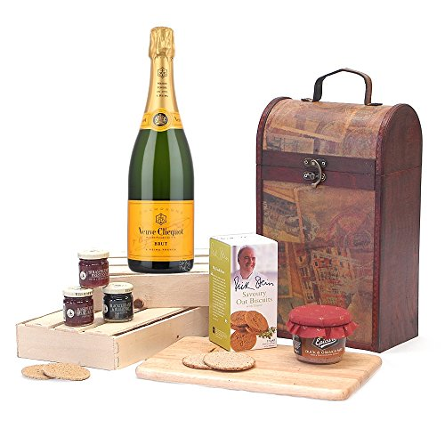 The Premium Clarendon Vintage Wooden Wine Chest Gift Hamper with 750ml Veuve Clicquot Yellow Label Brut Champagne - Gift Ideas for Valentines, Mother's Day, Birthday, Anniversary, Business and Corporate