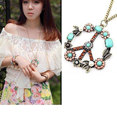 heelinna Fashion Peace Zeichen mit Perlen Halskette Kleid Kette (bunt)