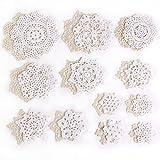 24x vintage Lace crochet motivi mini centrini 7–18cm bianco e beige decorazione di Natale fiocco di neve fiore gioielli fai da te Decorazione per scrapbooking