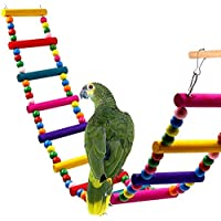 Tname Loro Perlas de Madera de Colores Escalera de Escalada Puente de Arco Iris Loros Soporte de Entrenamiento Pájaro (10 escaleras)