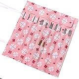 KINGSO 22 Slots Circular Knitting Crochet Needle Hook Organizer Bag Holder Case Pouch Flower Print