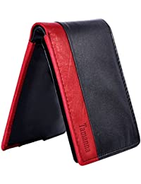Tamanna Men Black And Red Genuine Leather Wallet