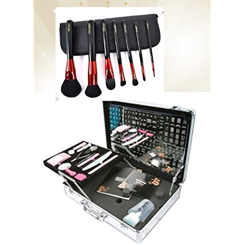 Bundle 2 Items : Konad Nail Art Professional Salon Case #2 with Demo Plate (M37-m73) +Itay Mineral Professional 7 Pc Set Makeup Brushes by KONAD Nail Art - Demo Bundle