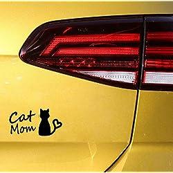 Zshhy Calcomanía Decorativa Para Mamá, Gato, Calcomanía Decorativa De Vinilo Negro Plateado 13 Cm * 6,7 Cm