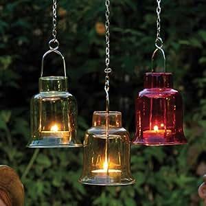Windlicht, Glas, Ø x H: 8 x 15 cm, Farbig sortiert
