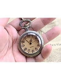 ShopyStore Vintage Glass Alice In Wonderland Drink Me Bottle Dark Brown Quartz Pocket Watch For Wome