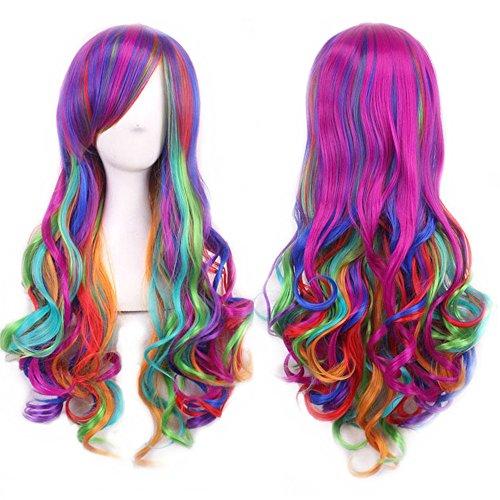 Damen Regenbogen Farbe Lange Curly Fancy Perücken Hitzebeständige Full Wavy Hair Perücken für Cosplay Party Kostüm UW006 (Perücke Damen Curly Volle)