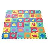 HOMCOM Puzzlematte Kinderspielteppich Spielmatte 36 tlg. abwaschbar mit geometrischen Figuren Bunt 31x31cm