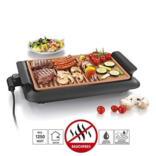 GOURMETmaxx Tischgrill elektrisch Tisch Elektrogrill für Draußen und Drinnen, Grill Platte mit zwei Garbereichen | Keramik Antihaftbeschichtung, max. 220 °C, [1250 Watt]