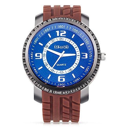 Smileyes Damenuhr Leder Armband Kupfer Armbanduhr Quarz Analog Uhr #TSW019G.02A (Herren-leder-kupfer-armband)