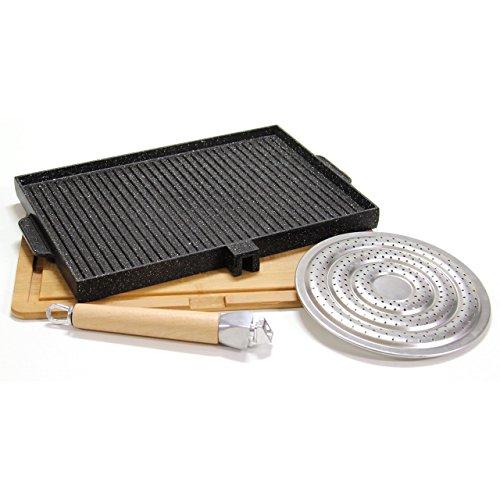 Padelle rettangolare doppia cottura del testo romagnolo in pietra lavica antiaderente liscia e grigliata black + sottopentola in legno sagomato per alimenti + spargifiamma no condimenti