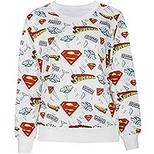 Nuevas señoras blanco Superman Logo Print Jumper sudadera Top Club wear ropa tamaño UK 8–10UK 38–40