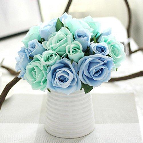 Longra Wohnaccessoires & Deko Kunstblumen Künstliche Seide Kunstblumen 9 Köpfe Blatt Hochzeit Blumen Dekor Bouquet Rose (blue)
