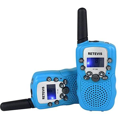 Retevis RT-388 Niños Walkie-talkie UHF 446MHz 8 Canales 0.5W con pantalla LCD y Linterna Incorporado Radio de Juguete Portátil y Aficionado (Azul, 1 par)