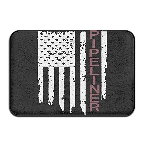 Not afraid Pipeliner US Flag Non-Slip Indoor/Outdoor Door Mat Rug for Health and Wellness Toilet Bathroom Doormat 23.6