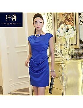 La versión coreana de la palabra de moda de alta costura para las arrugas,camisetas de manga corta,M,azul