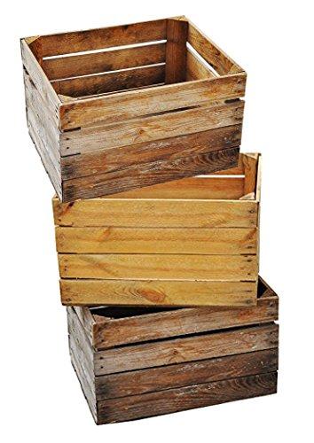 Massive Obstkiste - 3 Set Vintage Holzkiste - alte Kiste - Weinkiste - Natur Used Look von Teramico©