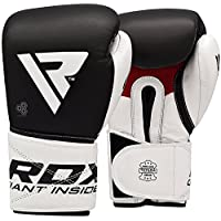 RDX Boxing Gloves for Training & Muay Thai - Cowhide Leather Mitts for Kickboxing, Sparring & Fighting - Great for Heavy Punch Bag, Speed Ball, Grappling Dummy and Focus Pads Punching