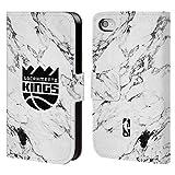 Head Case Designs Offizielle NBA Marmor Weiss 2018/19 Sacramento Kings Brieftasche Handyhülle aus Leder für iPhone 4 / iPhone 4S