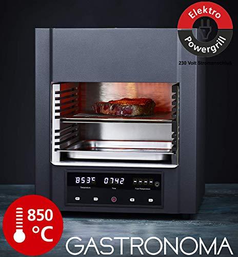 Gastronoma 18340002 Beef Cube Steaker, Hochleistungstemperatur, Elektro Grill, 850 Grad °C, Infrarot-Heizelemente, gekühltes Gehäuse, LED-Display, Abschaltautomatik, inklusive Fleisch-Thermometer