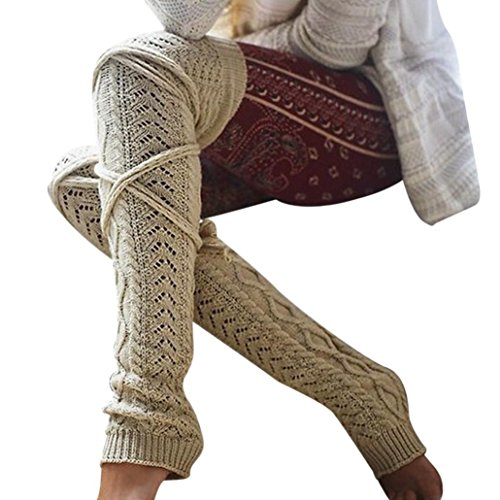 Bandage Schenkel Hoch Socken HARRYSTORE Damen Über Knie Lange Baumwolle Warm Strümpfe (Beige) (Strümpfe Knie-hohe Schiere)