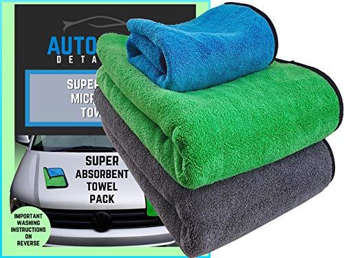 Grande dettaglio in microfibra auto asciugamani (2pezzi)-multiuso ultra spessore doppio 800gsm-free 600gsm asciugamano mf-xl bordatura antigraffio professionale ad alto grado di assorbente-asciugatura car wash pulizia ceretta lucidatura