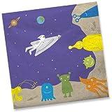 20 Servietten im * WELTRAUM * für Party und Geburtstag von DH-Konzept // Set Napkins Papierservietten Alien Space Ufo