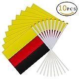 PAMASE 10 Pcs World Cup Handfahne Weltmeisterschaftflagge in Deutschlandfarben -Handflagge mit Fahnenmast für Fußball