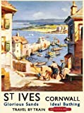 St Ives Harbour, Cornwall. British Railway Cornish Hoilday Advert for Sea Side or day trips. Kirchen, Holiday, Summer, Pub, Restaurant, cafe, coffee shop. Medium Metal/Steel Wall Sign