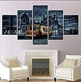 zlxzlx (Nessuna Cornice) Quadri su TelaSoggiorno Decorazioni per La Casa Stampe in HD Poster 5 Pezzi Poster per Pittura su Muro Retro European City Building Art