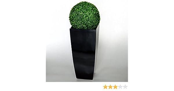 PLANTARA XXL Fiberglas Blumentopf Pflanzkübel schwarz glänzend Lotus ...