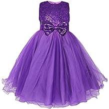 iEFiEL Kids Flower Girls Dress Sequins Bow Sleeveless Wedding Bridesmaid Formal Party Dress