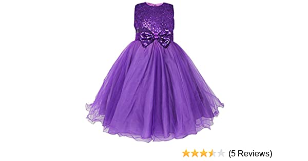 FEESHOW Kids Girls Sequined Party Wedding Dress Pageant Communion Princess Bowknot Party Clothing Purple 13-14 Years: Amazon.co.uk: Clothing